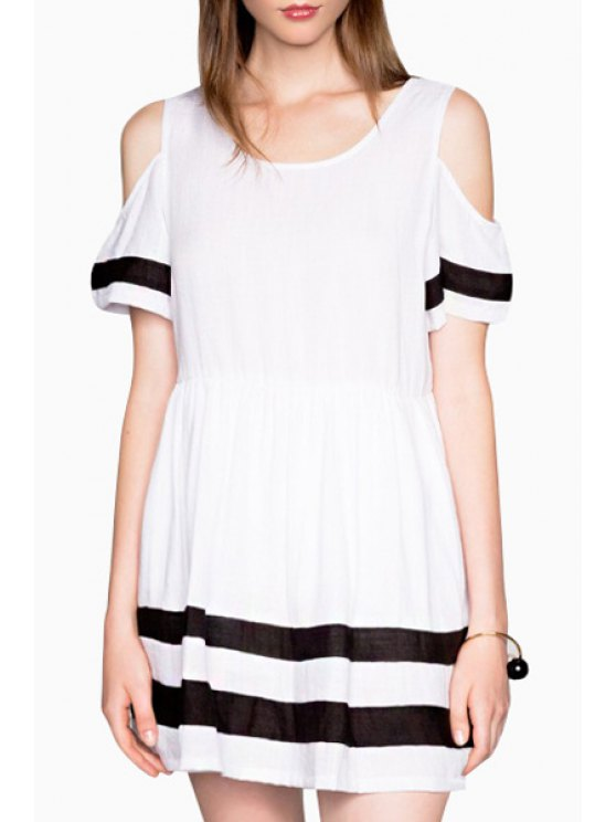 womens Cut Out Stripes Short Sleeve Dress - WHITE S