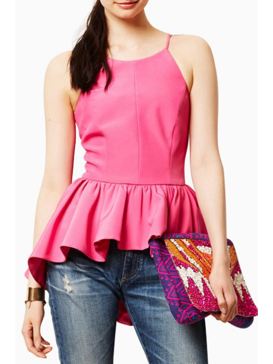 unique Spaghetti Strap Peplum Tank Top - ROSE S