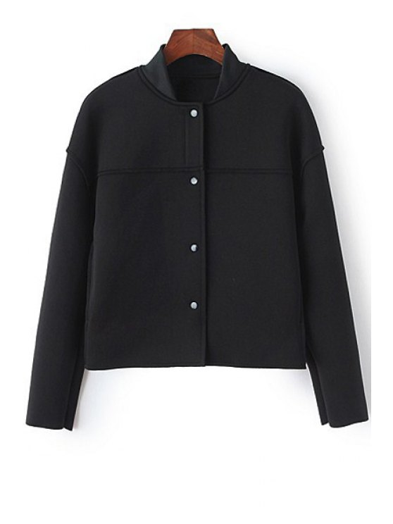 womens Stand-Up Collar Single-Breasted Long Sleeve Coat - BLACK M
