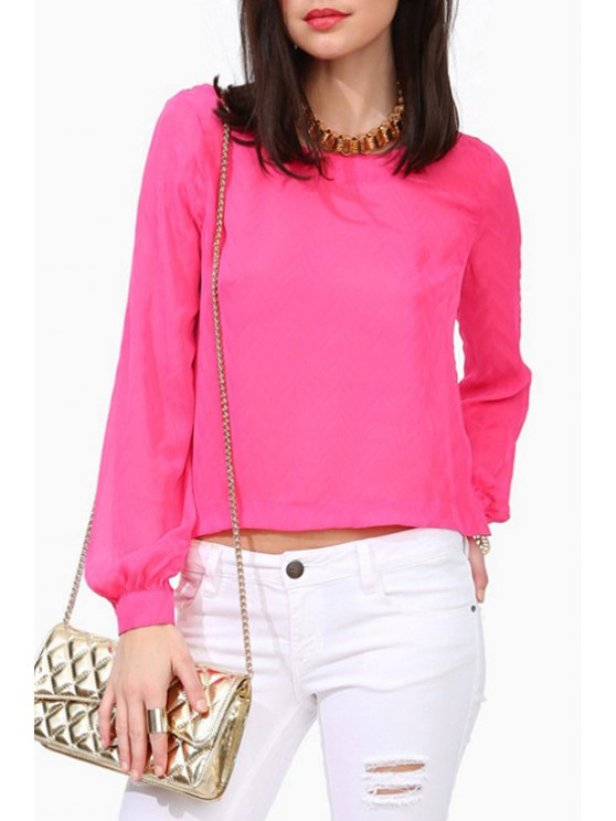 fancy Long Sleeve Solid Color Chiffon Blouse - ROSE S
