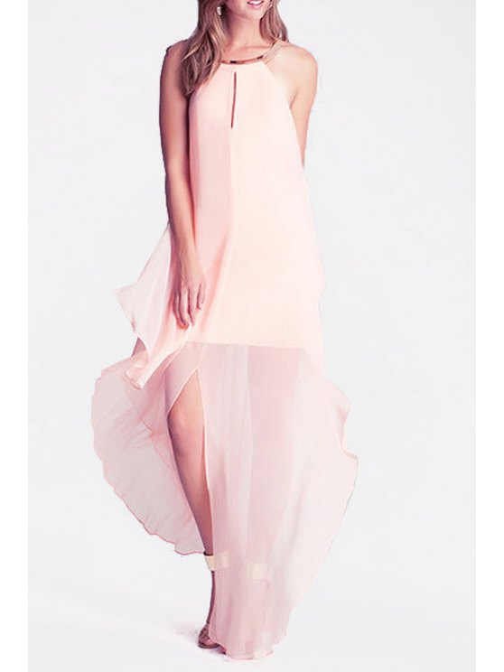shops Halter Layered Pink Chiffon Dress - PINK S