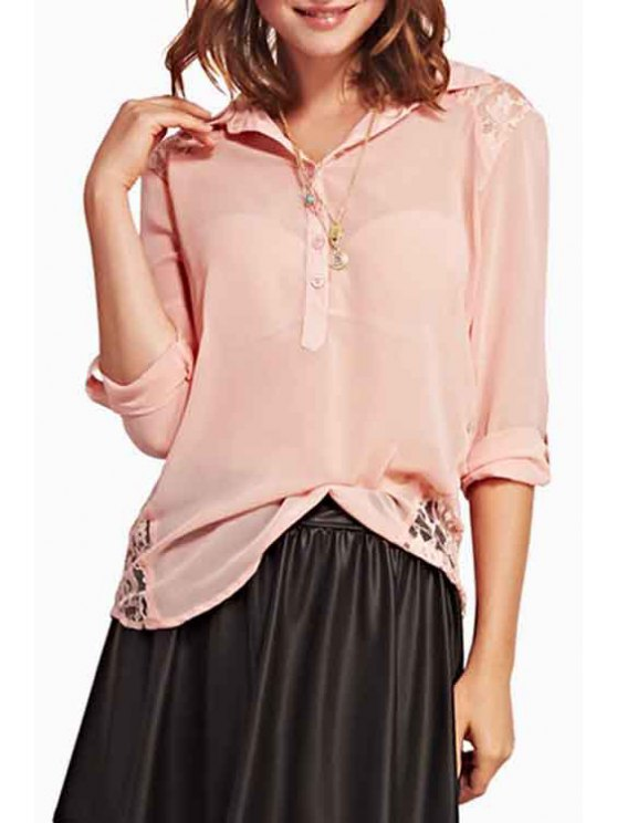 shop Turn-Down Collar Lace Splicing Solid Color Shirt - PINK M