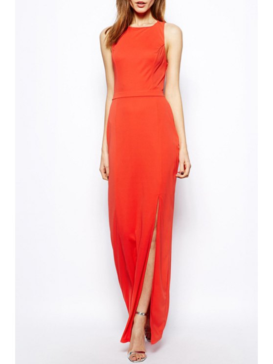 fancy Sleeveless Hollow Back Maxi Dress - JACINTH S