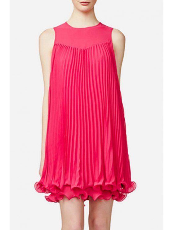 sale Sleeveless Pleated Solid Color Dress - ROSE S
