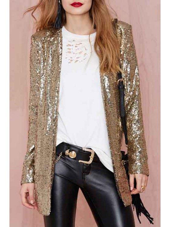 hot Turn-Down Collar Sequins Long Sleeve Blazer - GOLDEN M