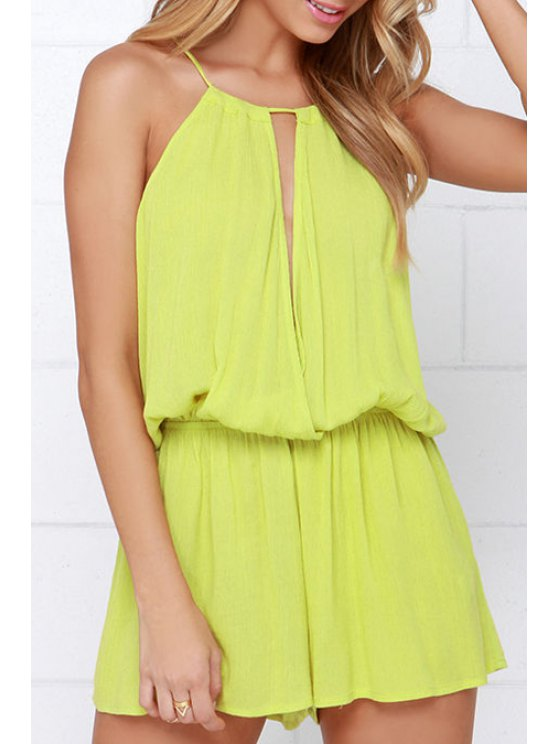 outfit Solid Color Cami Cut Out Playsuit - YELLOW XL