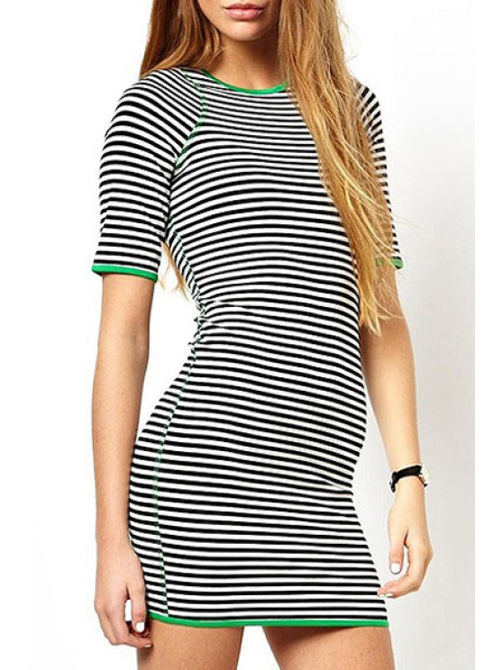 women's Striped Short Sleeves Bodycon Dress - WHITE AND BLACK S