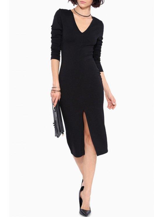 sale Long Sleeve Front Slit Bodycon Dress - BLACK S