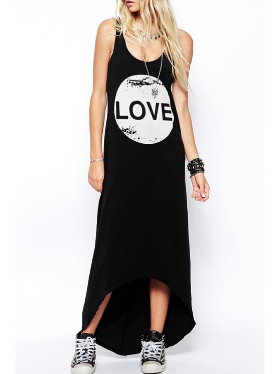 buy Letter Print Scoop Neck Maxi Sundress - BLACK S