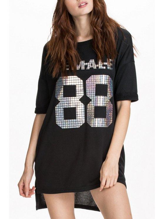 latest Numbers Print Half Sleeves Dress - BLACK S