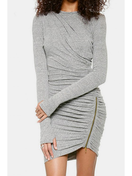 lady Long Sleeve Ruched Gray Bodycon Dress - GRAY S