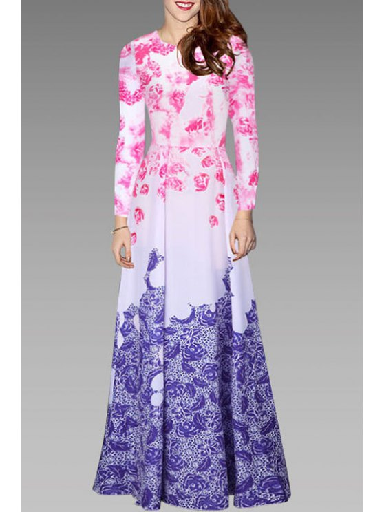 fashion Long Sleeve Floral Print Ombre Color Maxi Dress - WHITE S