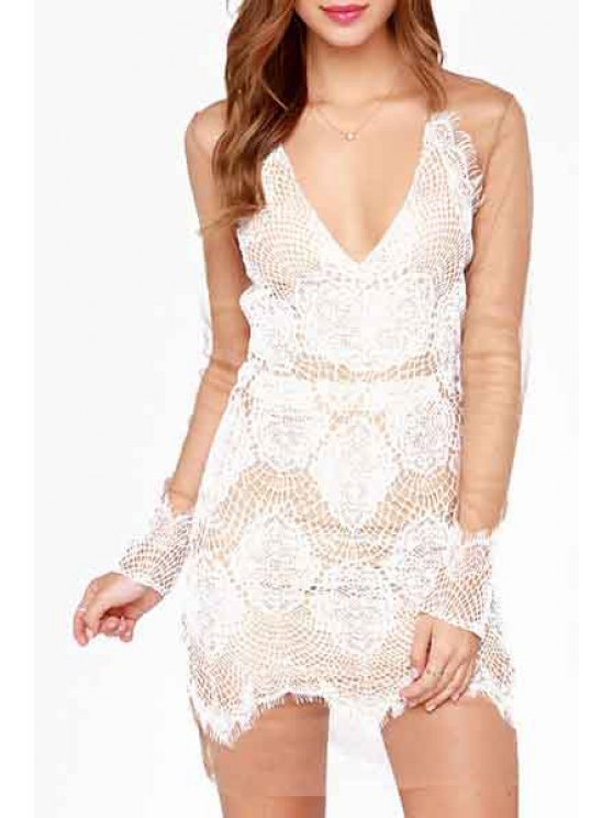 sale Deep V Neck See-Through Lace Splicing Dress - WHITE S