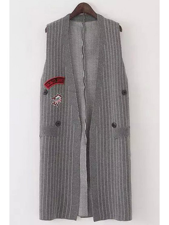 women's Striped Sleeveless Cardigan - GRAY ONE SIZE(FIT SIZE XS TO M)