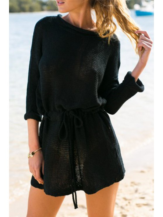 women's Fashionable Jewel Neck Solid Color Tie-Up Long Sleeve Dress For Women - BLACK XL