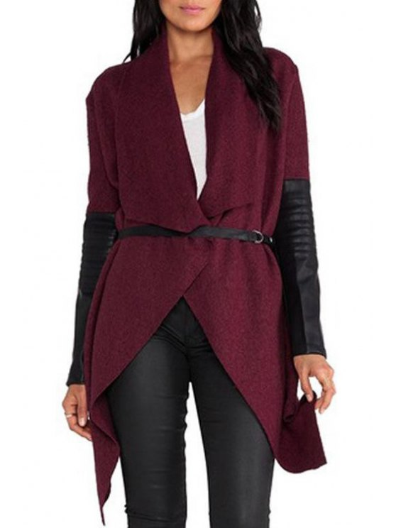 shops Faux Leather Spliced Irregular Hem Coat - WINE RED M