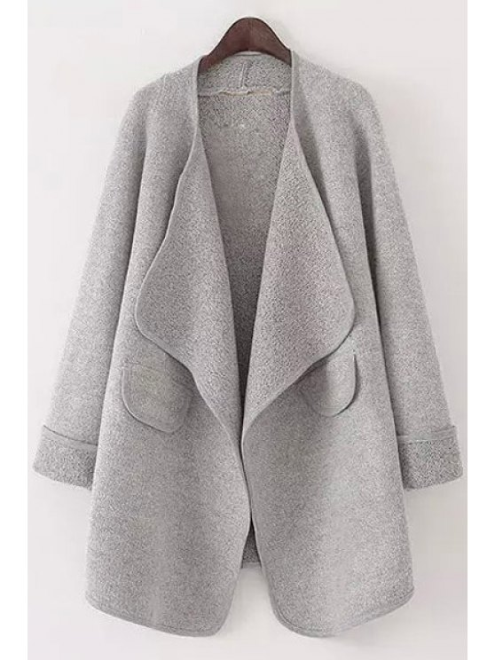 new Pure Color Turn Down Collar Long Sleeve Cardigan - GRAY M