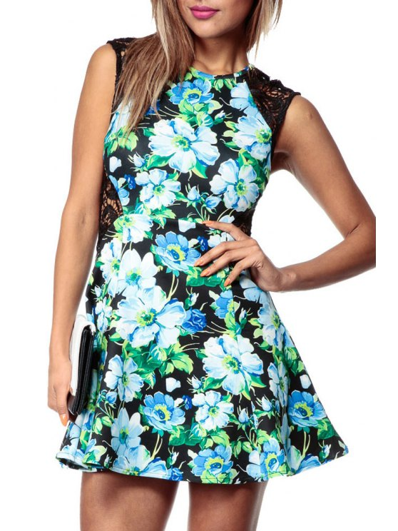 hot Sleeveless Lace Spliced Floral Dress - BLACK S