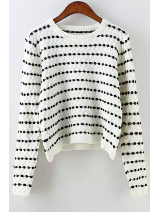 affordable Polka Dot Long Sleeves Jumper - WHITE ONE SIZE(FIT SIZE XS TO M)
