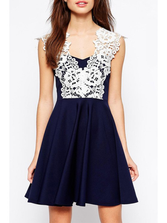 new V Neck White Lace Splicing Dress - CADETBLUE S