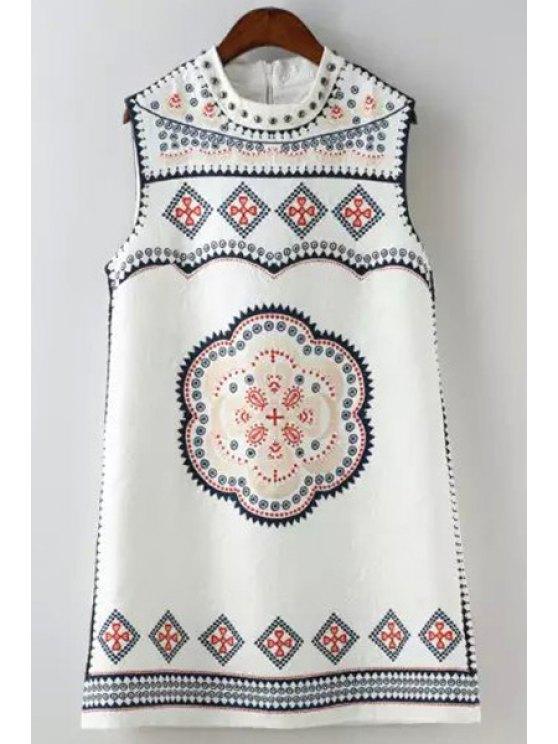 online Ethnic Print Round Neck Sleeveless Dress - WHITE M