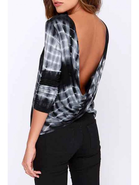 unique Scoop Neck Cross Backless Long Sleeve T-Shirt - WHITE AND BLACK S