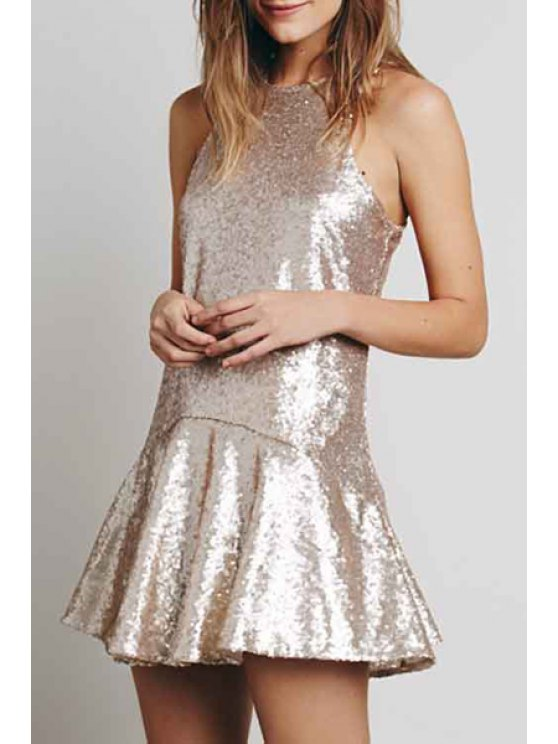 shops Solid Color Sequins Sleeveless Dress - OFF-WHITE S