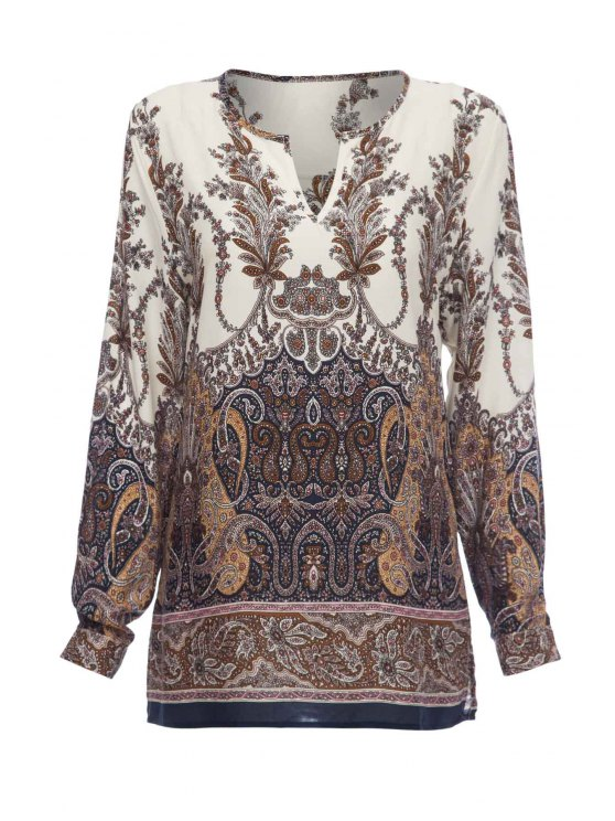 outfits Printed Loose-Fitting Long Sleeve Shirt - WHITE S