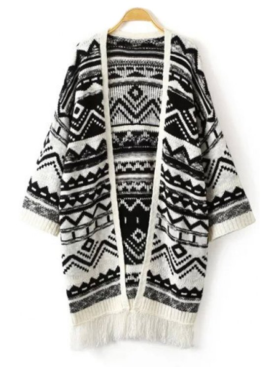 chic Black White Zig Zag Long Sleeve Cardigan - WHITE AND BLACK S
