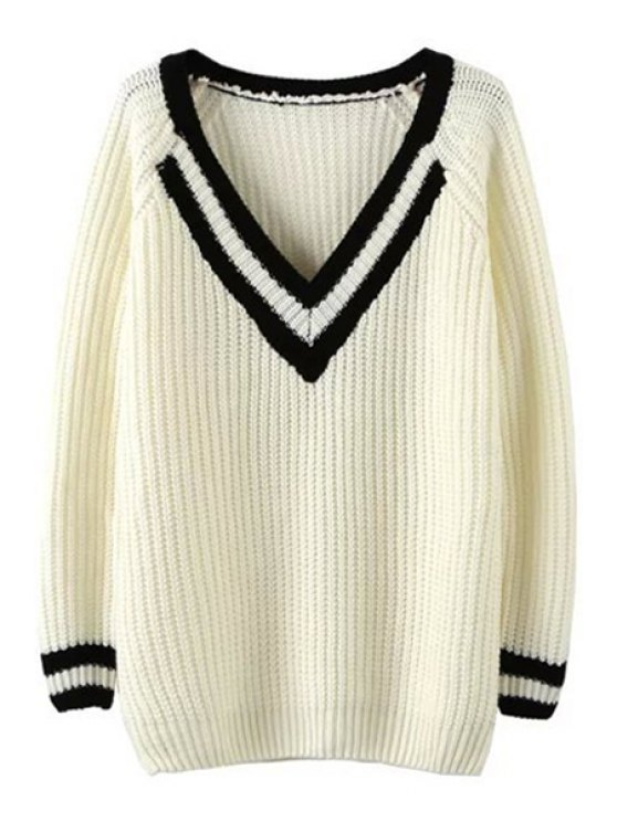 womens V Neck White Black Stripe Long Sleeve Sweater - WHITE ONE SIZE(FIT SIZE XS TO M)