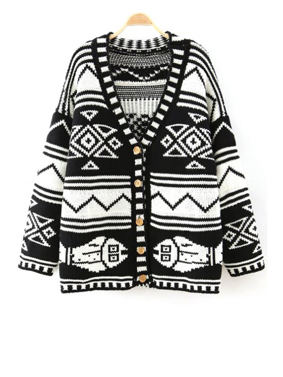 hot Geometric Pattern V-Neck Long Sleeves Cardigan - BLACK ONE SIZE(FIT SIZE XS TO M)
