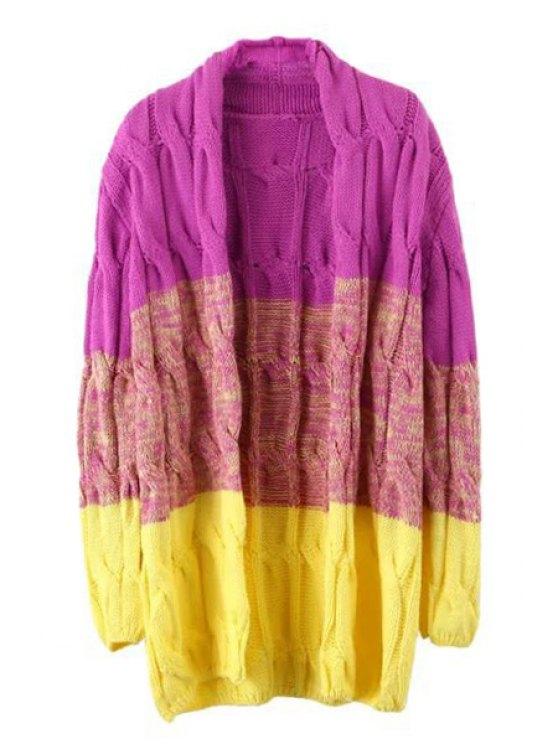 shop Color Block Plait Long Sleeve Cardigan - PURPLE ONE SIZE(FIT SIZE XS TO M)