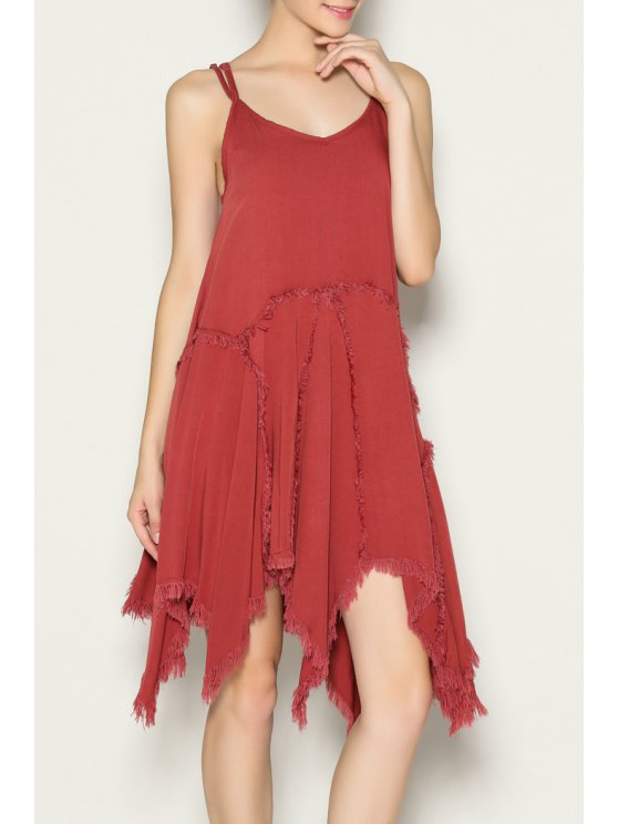 outfits Spaghetti Strap A-Line Frayed Dress - DARKSALMON M