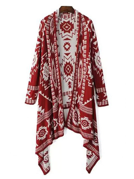 affordable Color Block Geometric Pattern Long Sleeve Cardigan - RED ONE SIZE(FIT SIZE XS TO M)