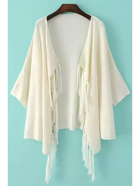 women's Solid Color Fringe Half Sleeve Cardigan - WHITE ONE SIZE(FIT SIZE XS TO M)