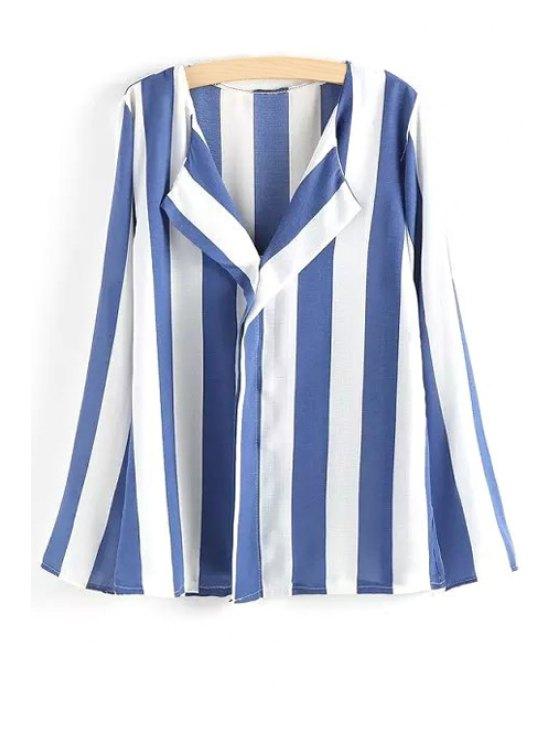 ladies Long Sleeve Vertical Stripes Shirt - LIGHT BLUE M