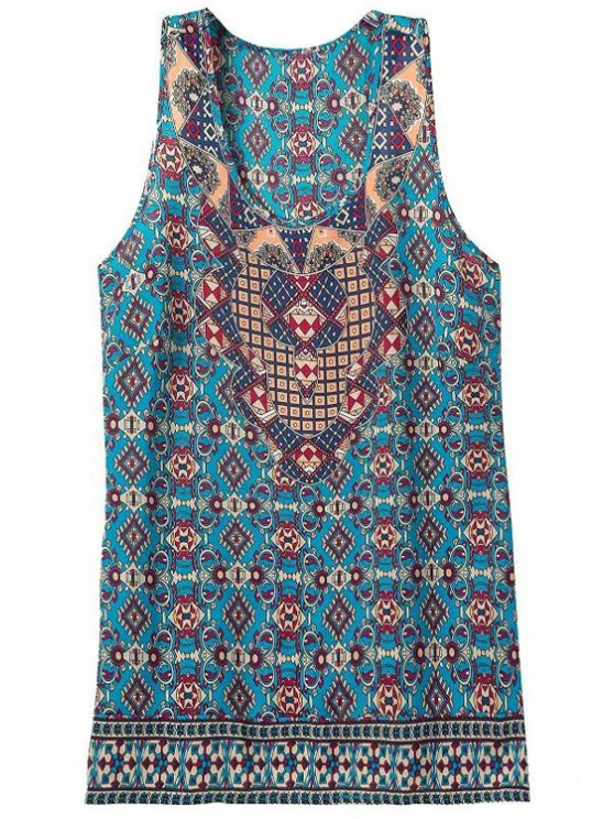 new Scoop Neck Color Block Printed Sleeveless Tank Top - COLORMIX S