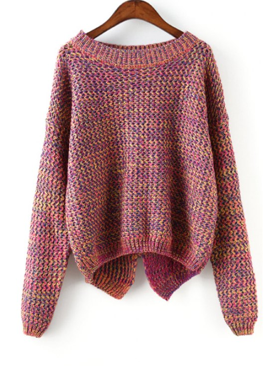 online Color Mixed Back Split Long Sleeve Sweater - RED ONE SIZE(FIT SIZE XS TO M)