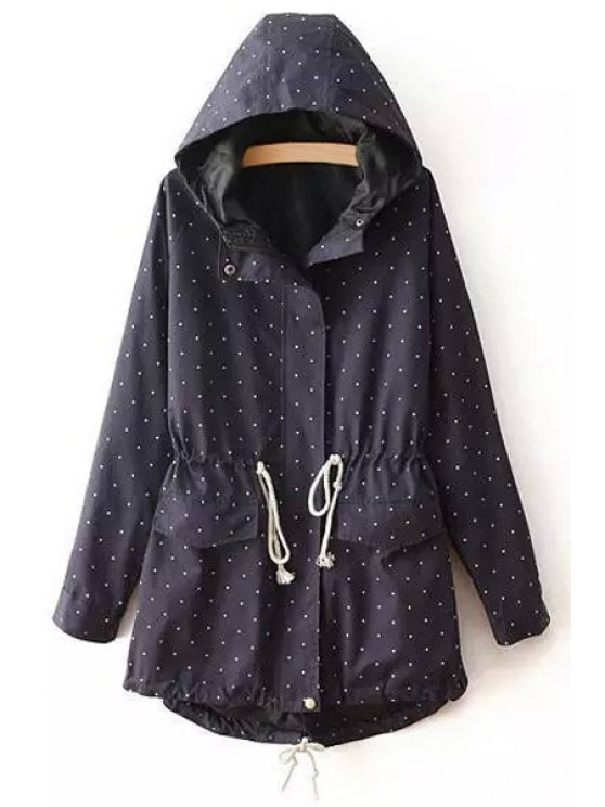 outfit Polka Dot Print Hooded Long Sleeves Trench - CADETBLUE S