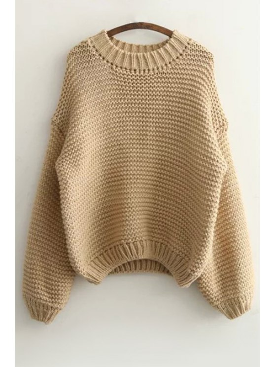 outfit Pure Color Long Sleeve Sweater - KHAKI ONE SIZE(FIT SIZE XS TO M)