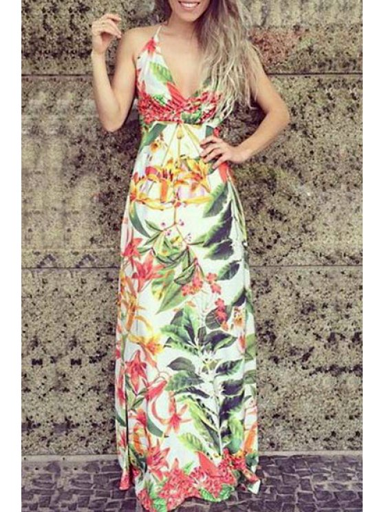 women's Sleeveless Tropical Print Maxi Dress - WHITE S