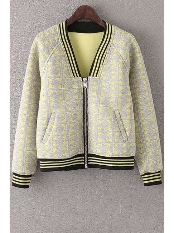 new Argyle Pattern Zipper Fly Long Sleeve Jacket - YELLOW S