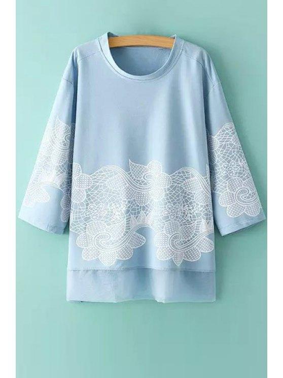 trendy Voile Spliced 3/4 Sleeve T-Shirt - BLUE M