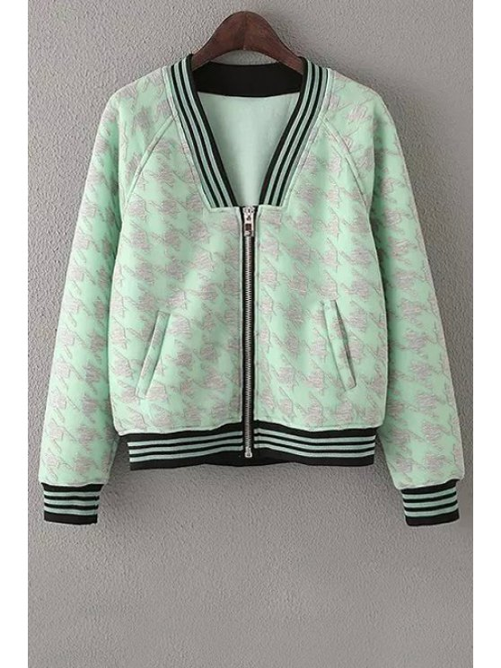 outfits Houndstooth Pattern Zipper Fly Long Sleeve Jacket - GREEN S