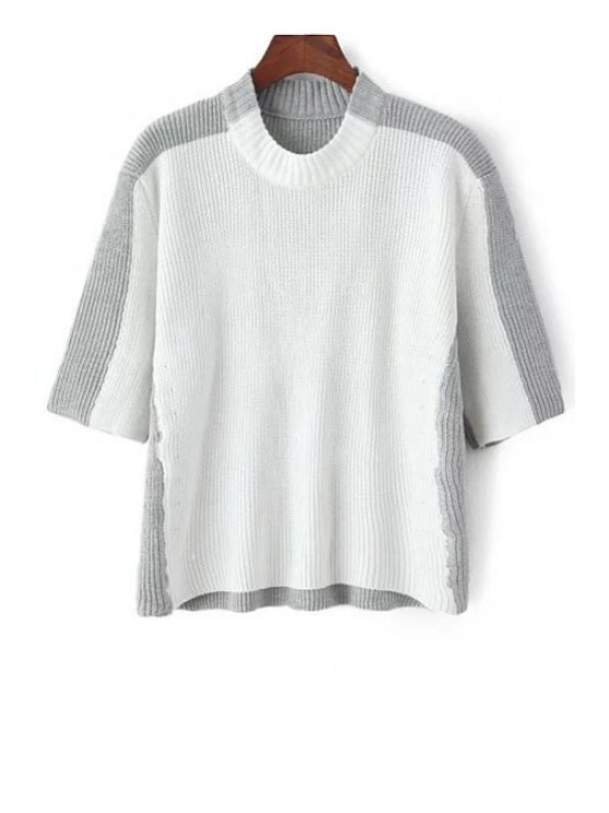 shop Round Neck White Grey Splicing Half Sleeve Sweater - GREY AND WHITE ONE SIZE(FIT SIZE XS TO M)