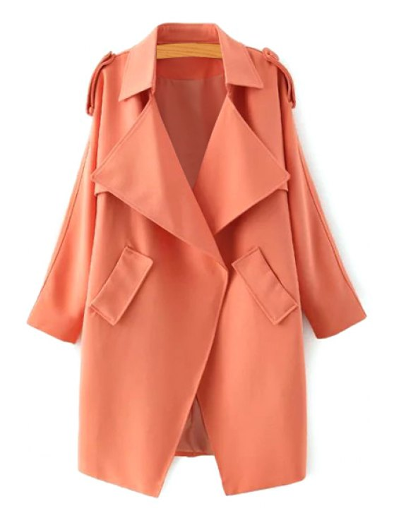 fashion Turn Down Collar Long Sleeve Epaulet Trench - ORANGE S