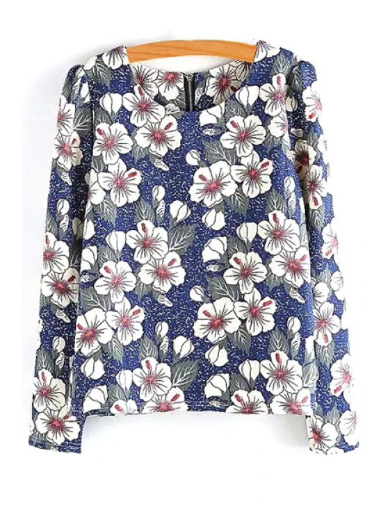 affordable White Floral Print Long Sleeve T-Shirt - COLORMIX ONE SIZE(FIT SIZE XS TO M)