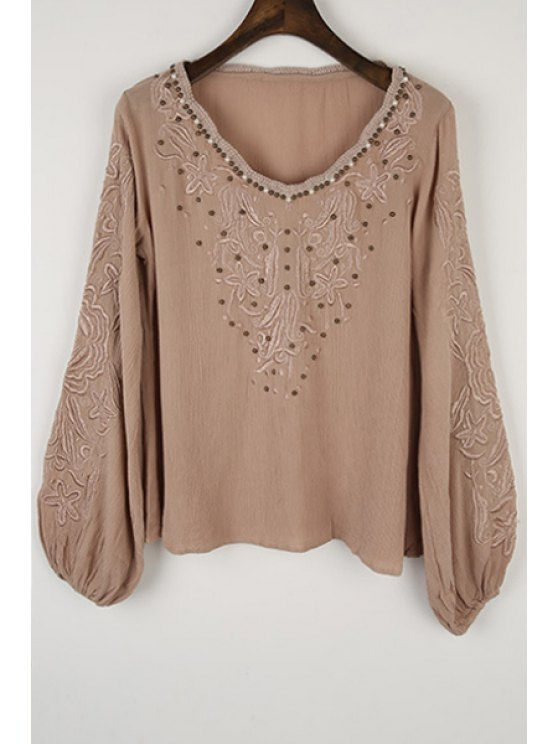 online Long Sleeve Embroidered Beading Blouse - KHAKI S