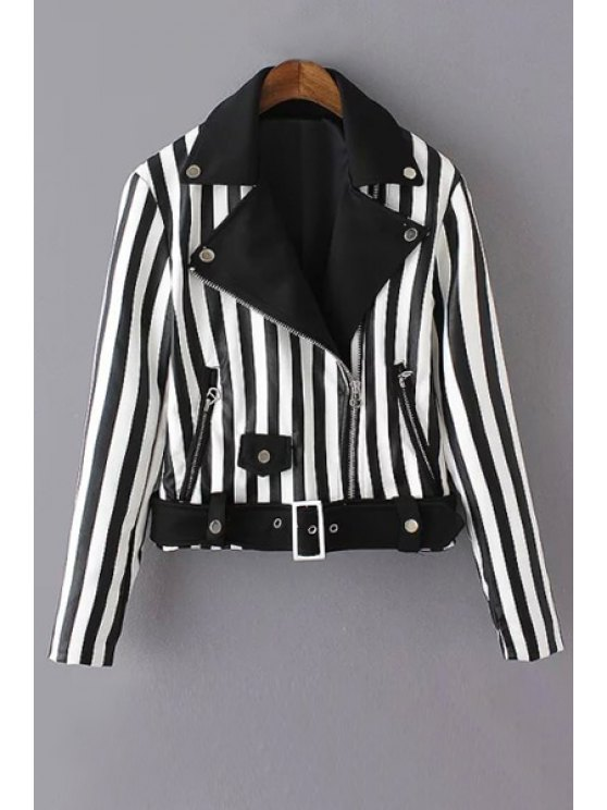 chic Striped Lapel Neck Long Sleeve Jacket - WHITE AND BLACK S