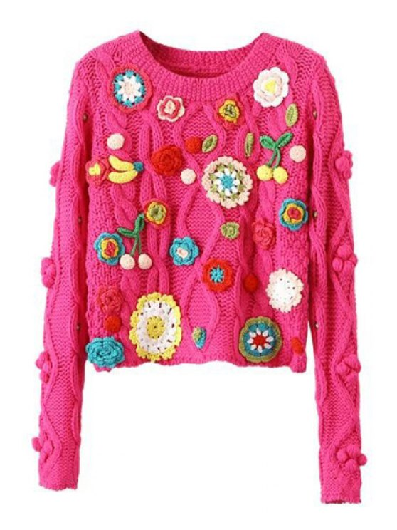 fancy Crochet Flower Long Sleeve Pullover Sweater - ROSE ONE SIZE(FIT SIZE XS TO M)